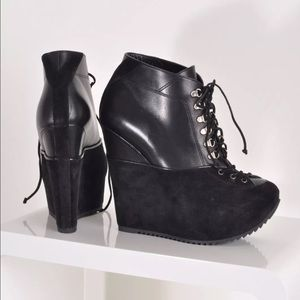 Yves Saint Laurent Black Platform Ankle Booties